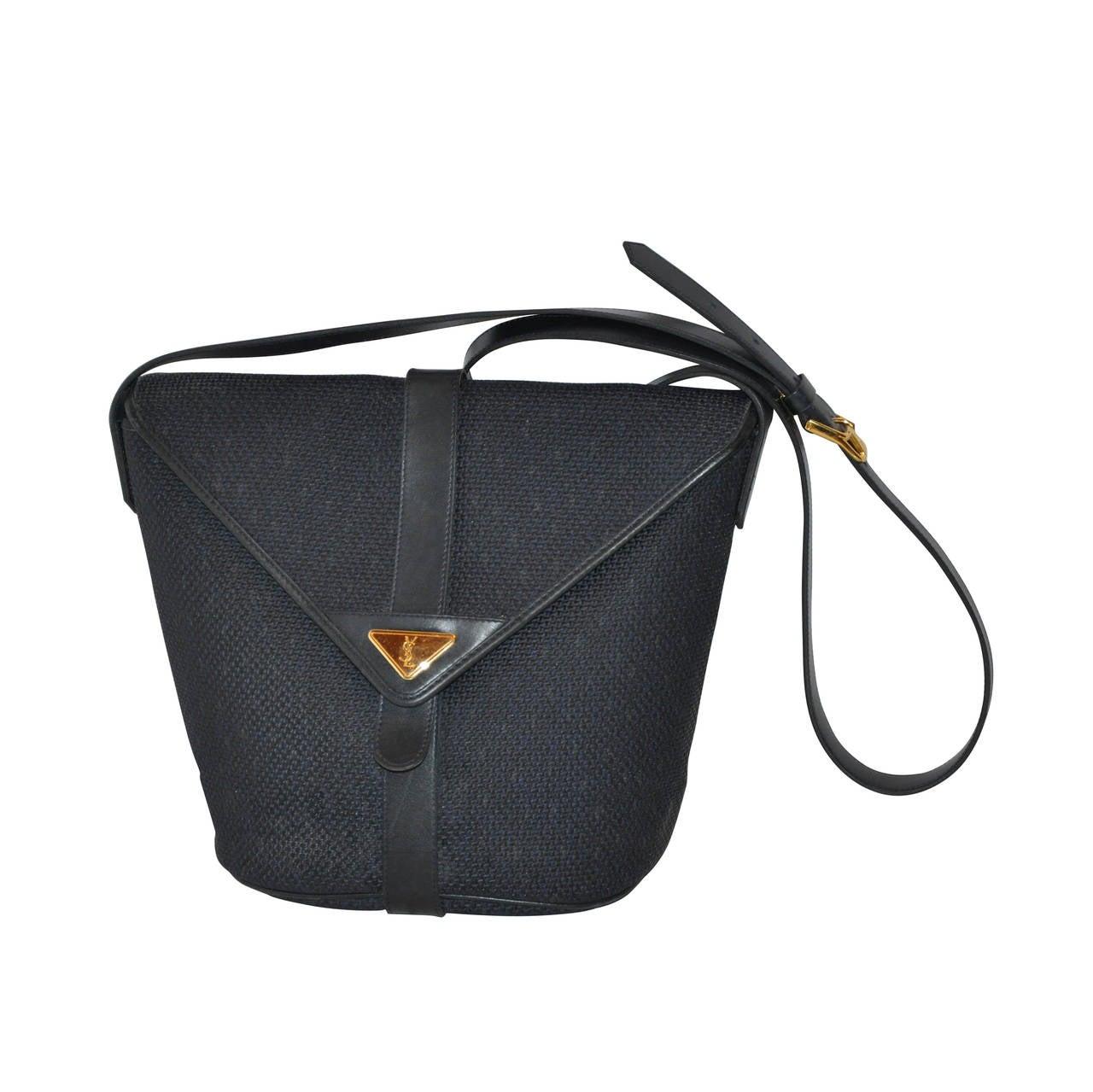 833e070129 Yves Saint Laurent Woven Weave Navy Flap-Over Shoulder Bag For Sale at  1stdibs
