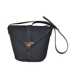 Yves Saint Laurent Woven Weave Navy Flap-Over Shoulder Bag