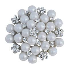 Large Multi-Rhinestones with Pearls Brooch