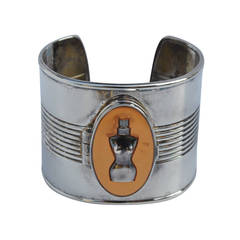 """Jean Paul Gaultier Bold Silver with """"Locket"""" Compartment Cuff"""