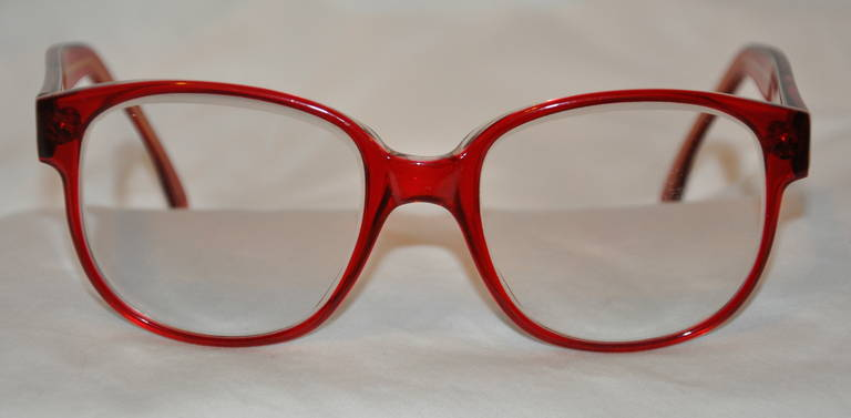 dfbe34935254 Robert La Roche Thick Red Lucite with Gold Hardware Frame Glasses For Sale
