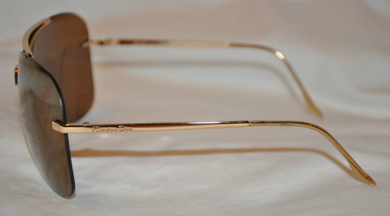 Brown Christian Dior Gold Mirrored with Gold Hardware Sunglasses For Sale