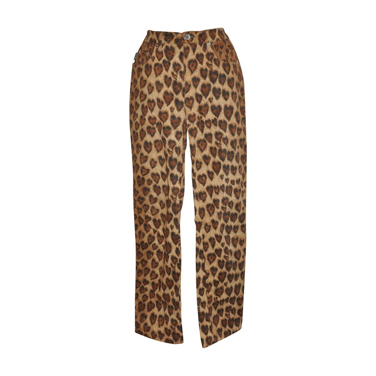 Moschino Leopard Print Five-Pocket Stretch Cotton Pants 1