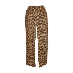 Moschino Leopard Print Five-Pocket Stretch Cotton Pants