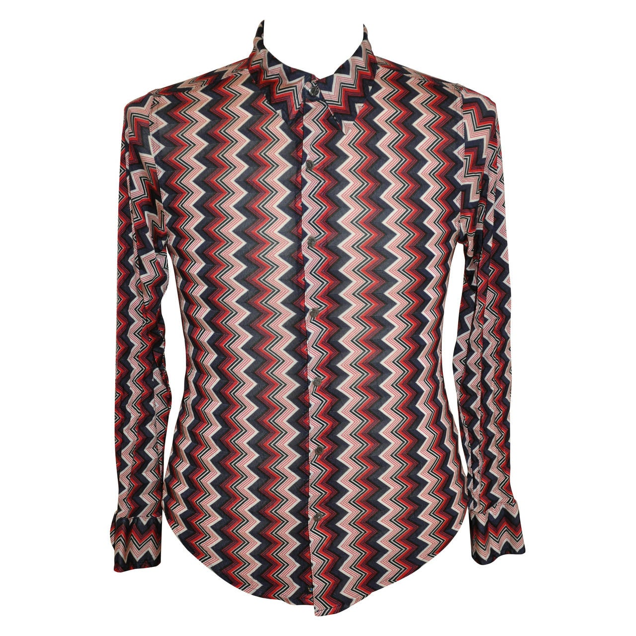Todd oldham zig zag multi color men 39 s snap front shirt for for Snap t shirt printing