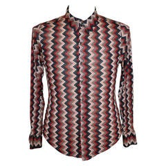 Todd Oldham Zig Zag Multi-Color Men's Snap-Front Shirt