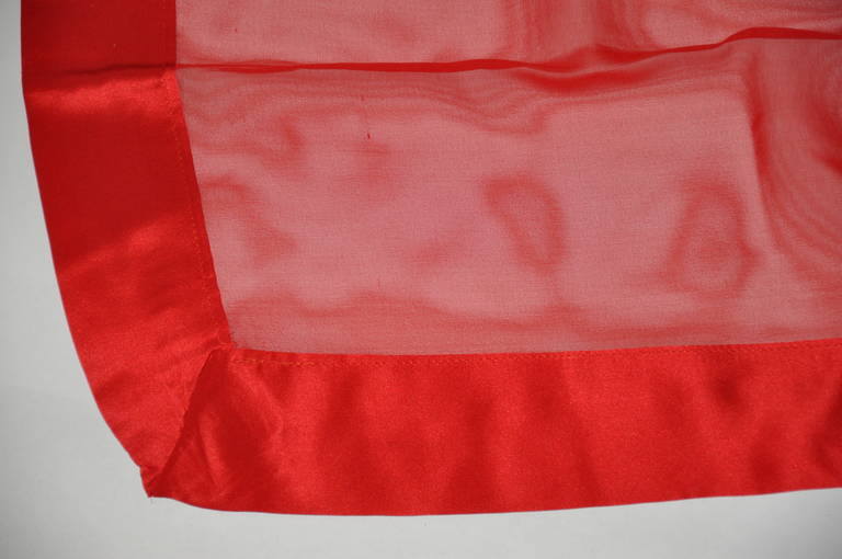 Large Red Chiffon with Crepe de Chine Border Scarf In Excellent Condition For Sale In New York, NY