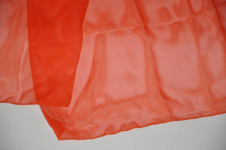 Red Large Bold Tangerine Silk Chiffon Scarf For Sale