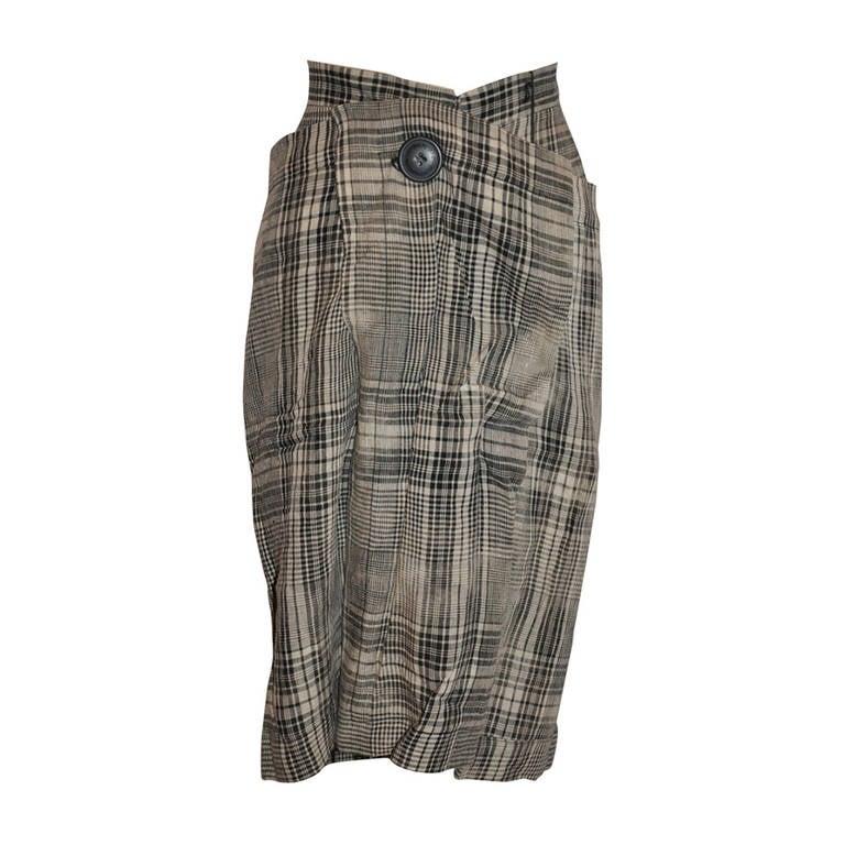 Vivienne Westwood Black & White Linen Plaid Deconstructed Skirt