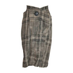Vivienne Westwood Black & White Linen Plaid Deconstructed Skirt