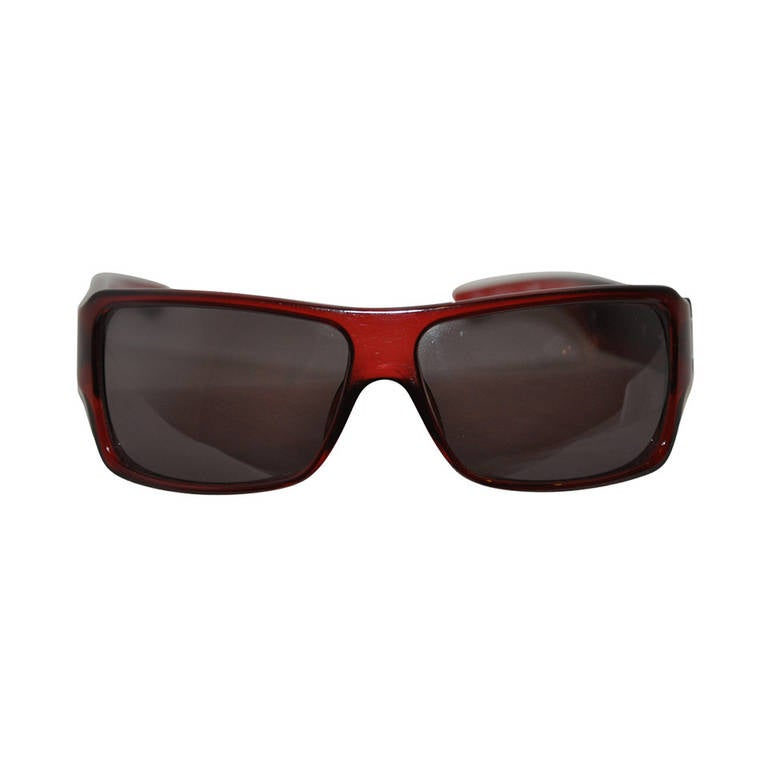 "Christian Dior Burgundy/Brown Lucite with ""Chain"" Accent Sunglasses For Sale"