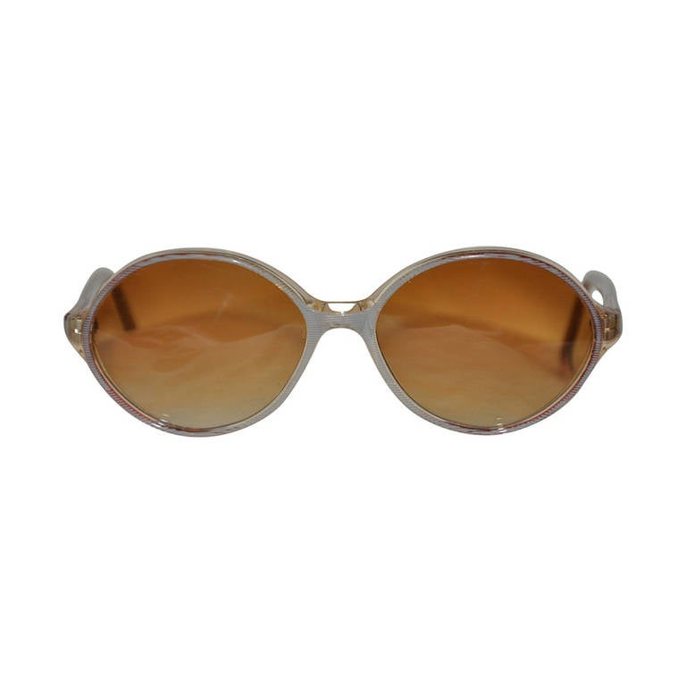 Handmade in France Oval Stripe Lucite Sunglasses