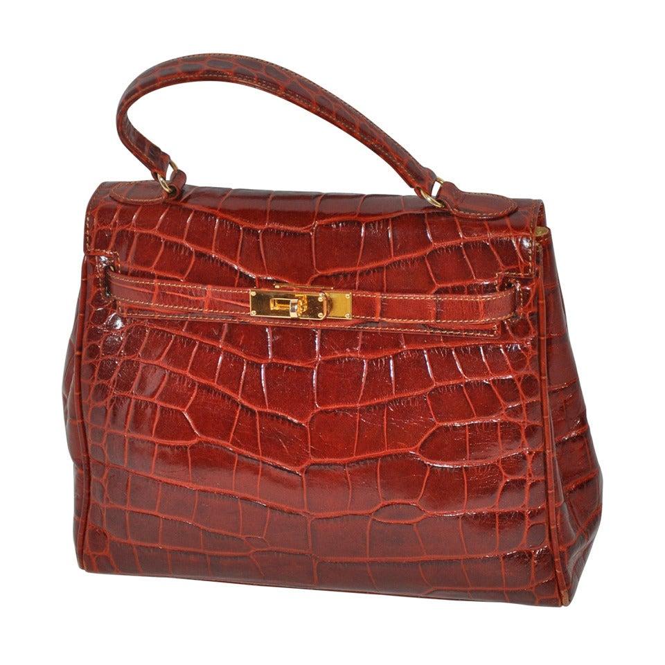 Siso Golden Brown Croc Embossed Calfskin Kelly Style Handbag