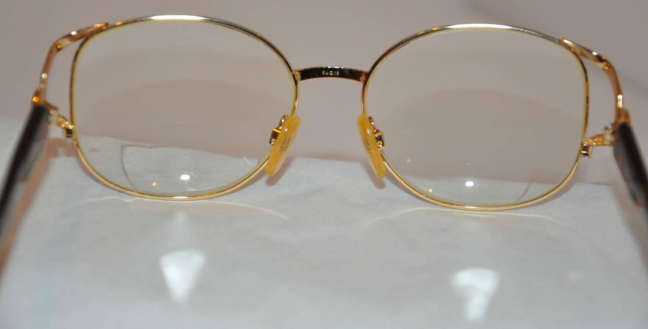 Yves Saint Laurent Gilded Gold Hardware with Tortoise Shell Eyeglasses 4