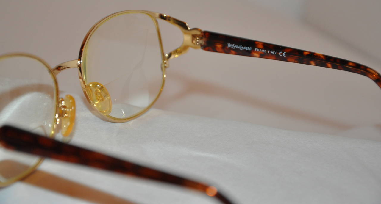 Yves Saint Laurent Gilded Gold Hardware with Tortoise Shell Eyeglasses 5