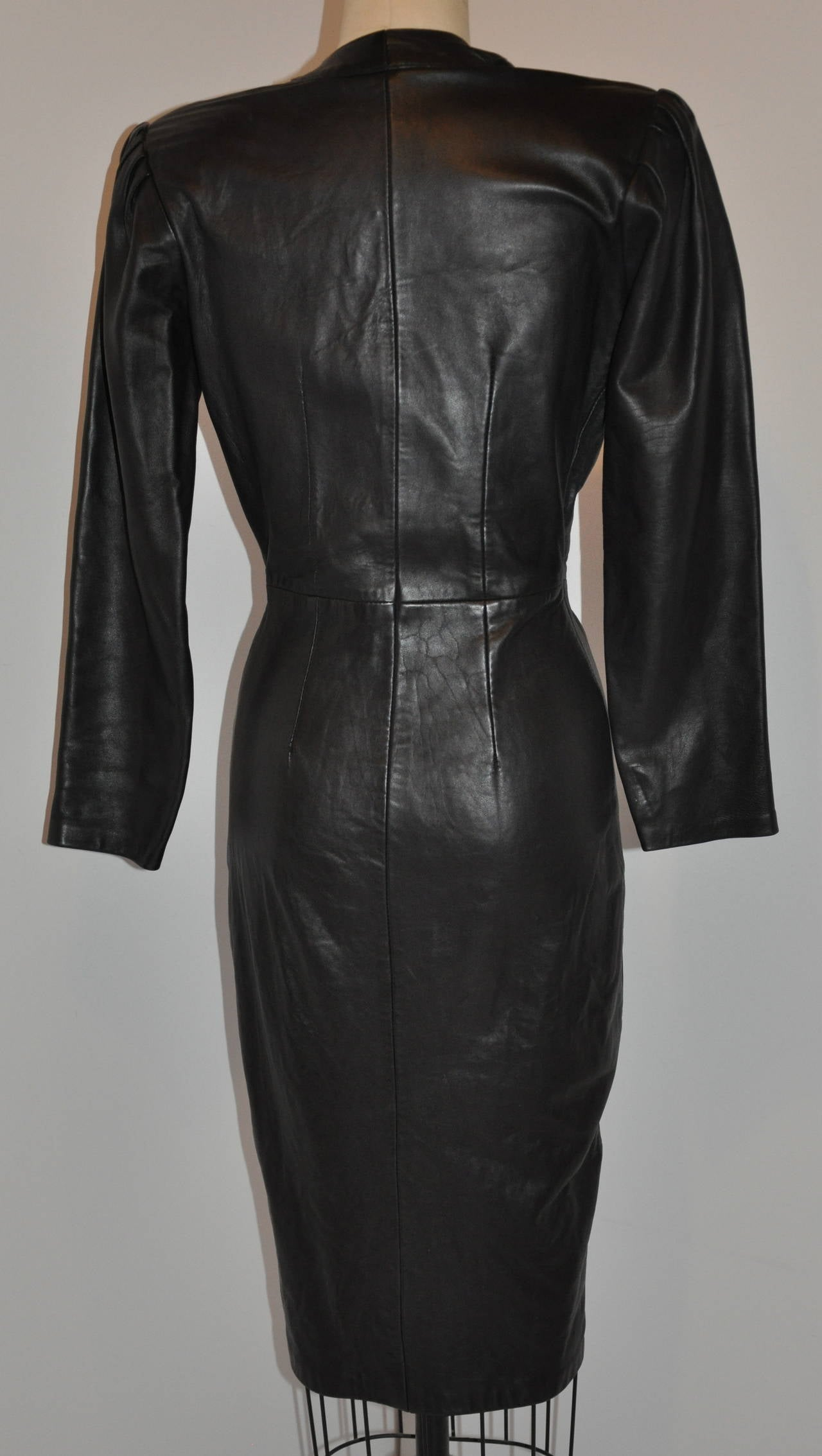 This Wonderfully Wicked Michael Hoban For North Beach Leather Body Hugging Dress Is Made With