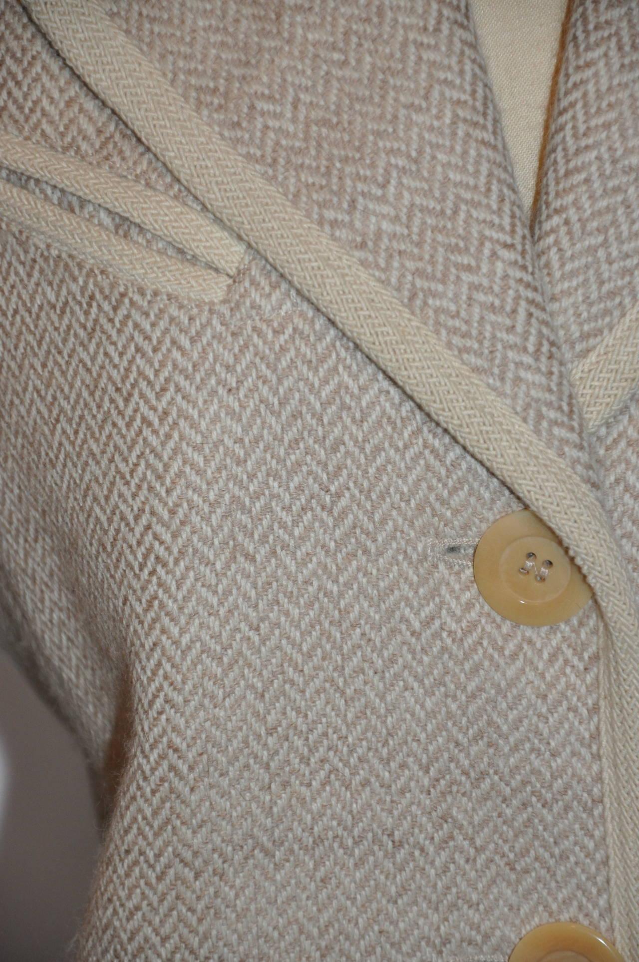 Brown Ines de la Fressange Cream Lambswool and Angora Jacket For Sale