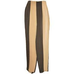 OZBEK Tan & Olive-Green Stripe High-Waisted Pant