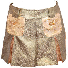 Custo Multi-Print Brocade Gold Lame  Skirt with Tags
