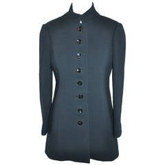 Custom Fully Lined Black Wool Crepe 8-Button Fitted Jacket