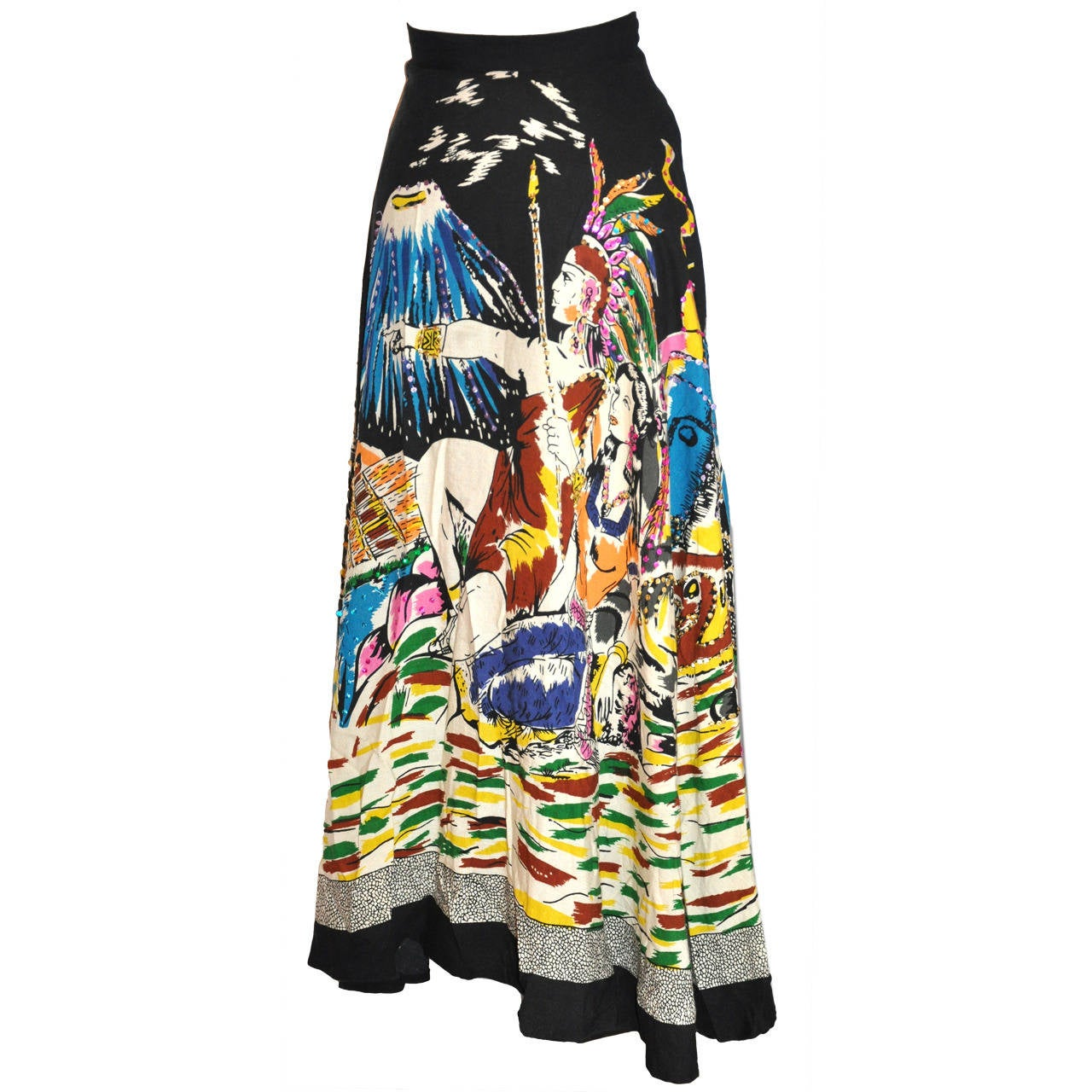 """Circular Skirt of """"Volcano and Native Scenes"""" Accented with Sequins"""