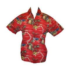 "Hilo Hattie's 'Made in Hawaii"" Red ""Surfboards"" Men's Hawaiian Shirt"