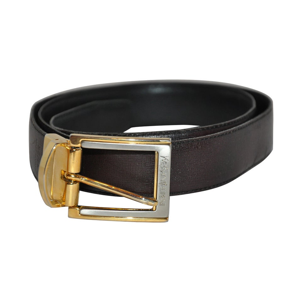 Yves Saint Laurent Men's Reversible Calfskin with Gold Hardware Belt For Sale