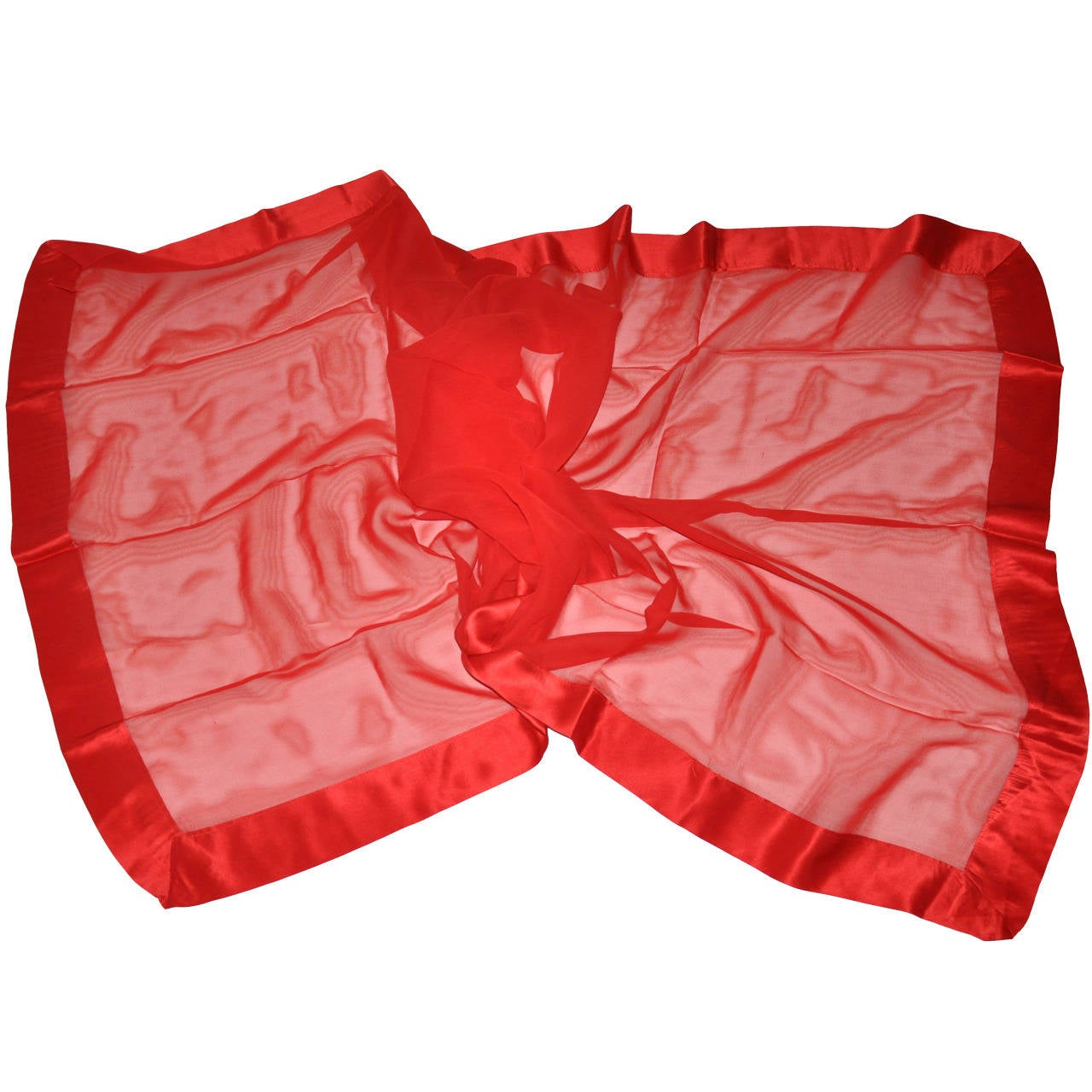 Large Red Chiffon with Crepe de Chine Border Scarf For Sale