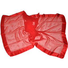 Large Red Chiffon with Crepe de Chine Border Scarf