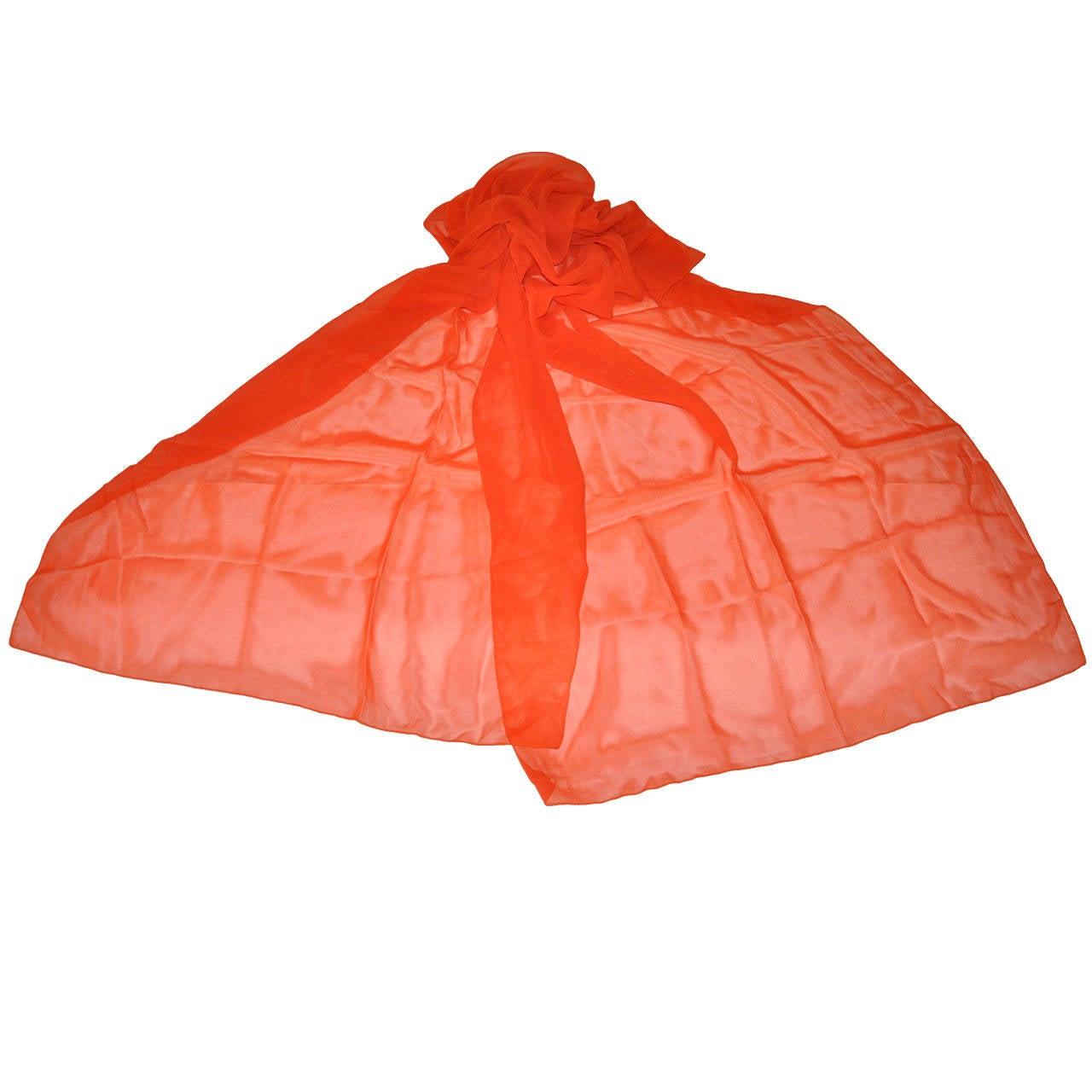 Large Bold Tangerine Silk Chiffon Scarf For Sale