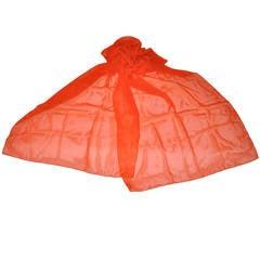 Large Bold Tangerine Silk Chiffon Scarf