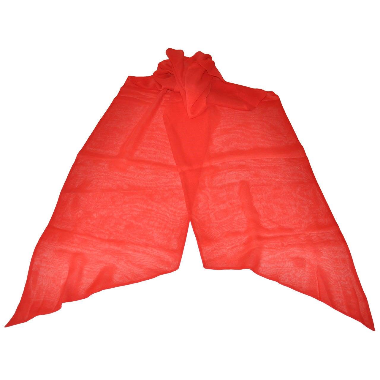 Bold Red Double-Layer Silk Chiffon Scarf