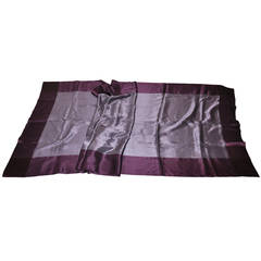 Huge Violet with Plum Silk Crepe de Chine Borders Scarf