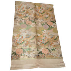 Vintage Japanese Texile Hand-Woven with Metallic Gold Threads