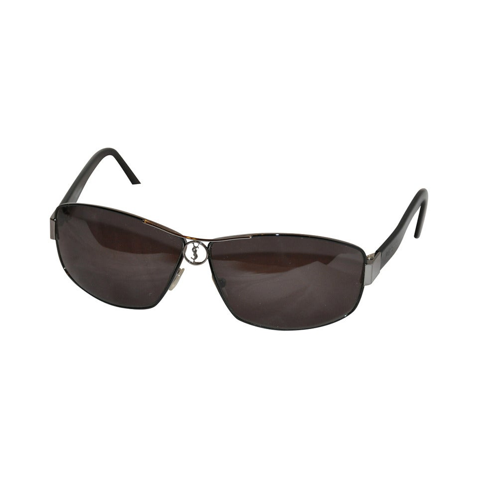 Yves Saint Laurent Black Hardware with Black Lucite Sunglasses