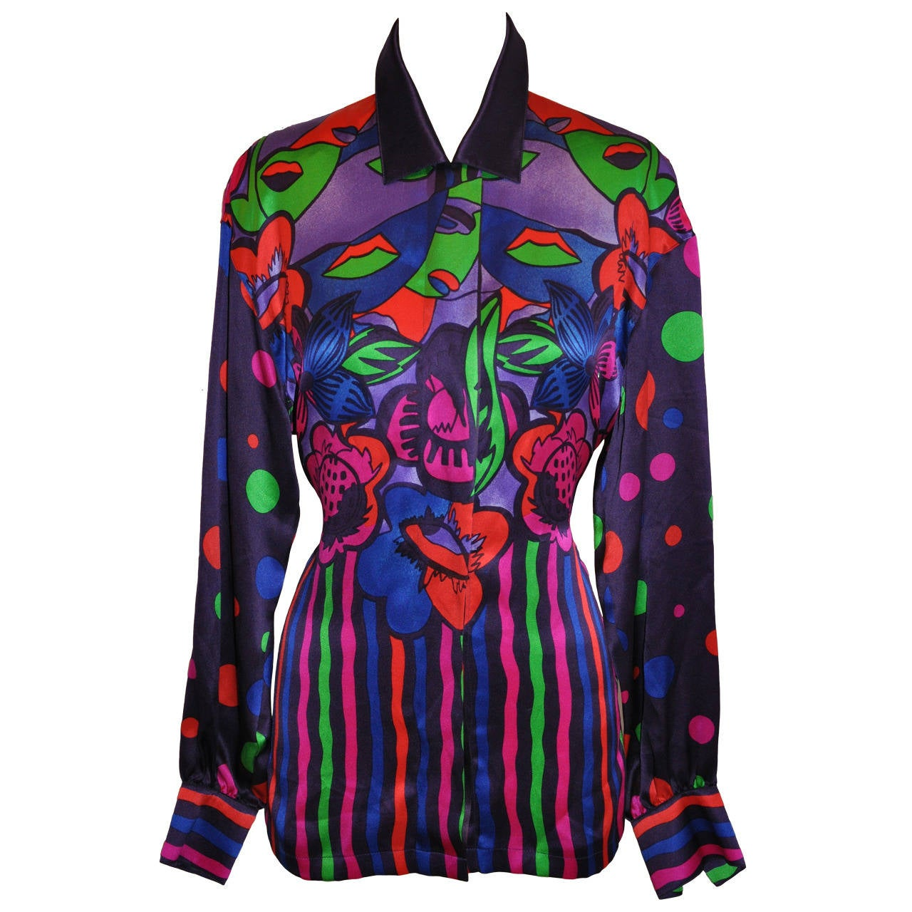 Escada by Margaretha Ley Multi-Color Bold Abstract Crepe de Chine Blouse For Sale
