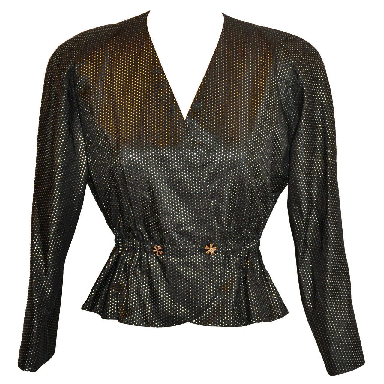 Halston Black with Metallic Gold Polka Dot Silk Evening Jacket