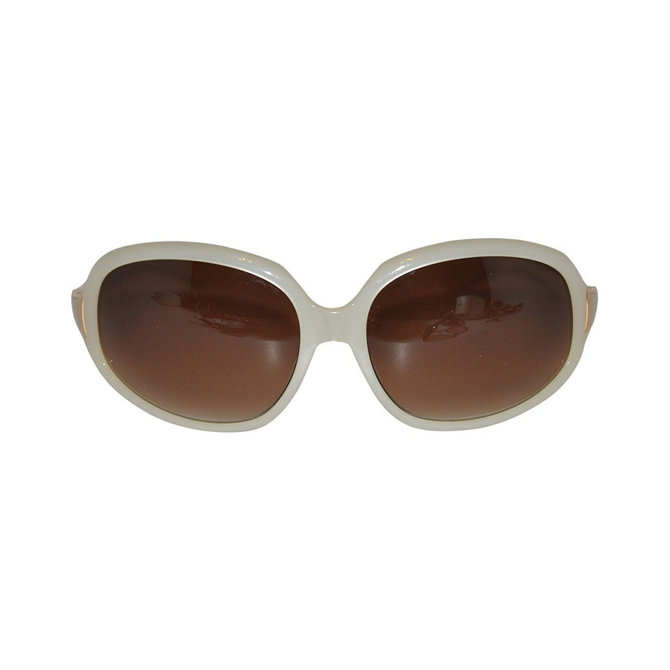 Oliver Peoples Pearl Finished and Gold Sunglasses For Sale
