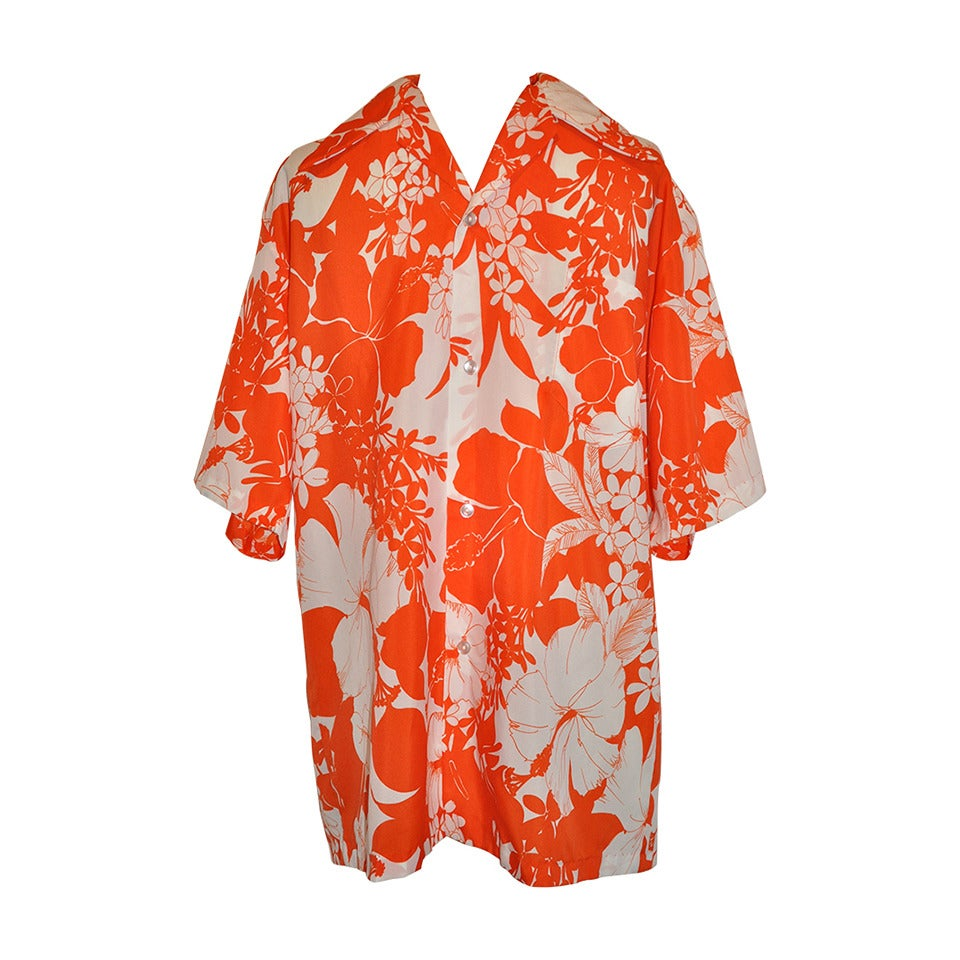 By elaine 39 men 39 s hawallian orange and white floral shirt for Mens white floral shirt