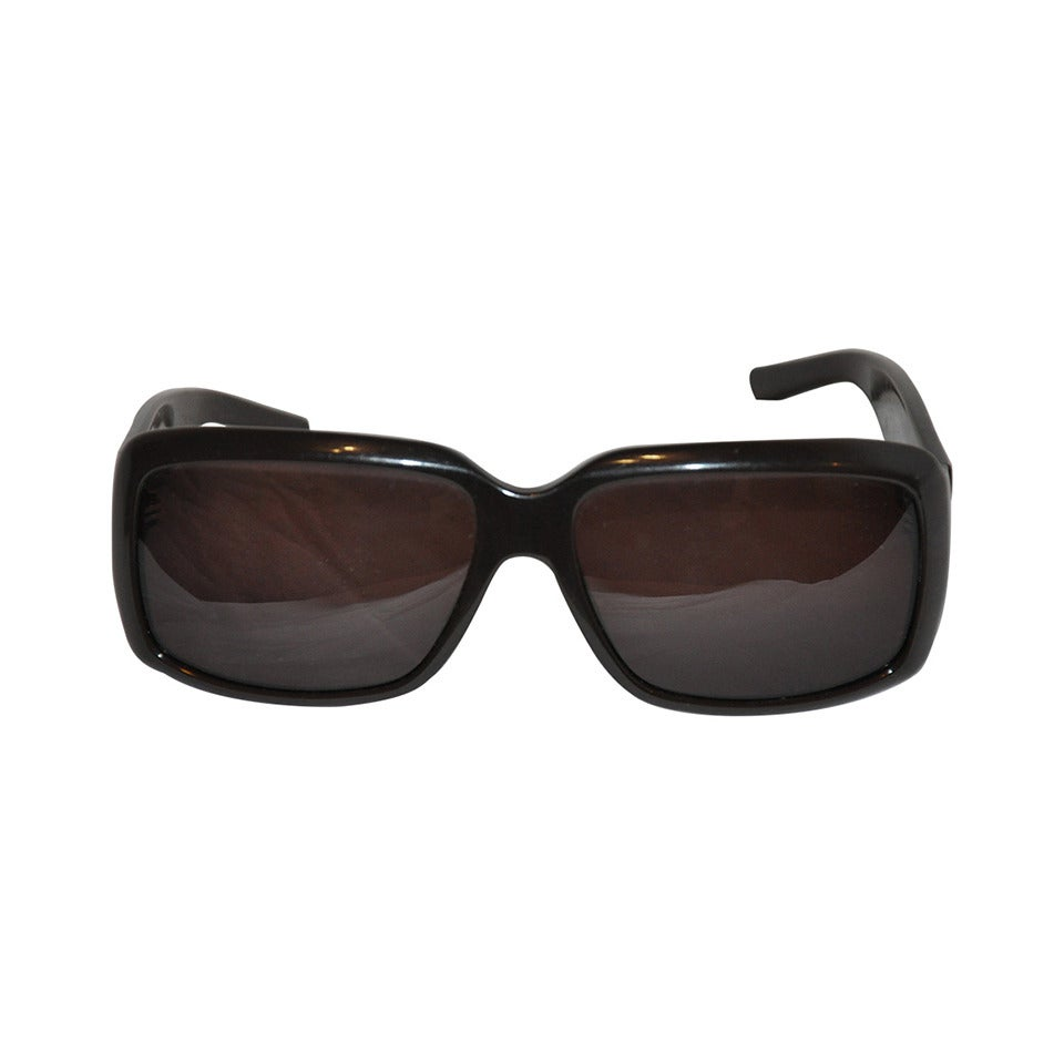 Yves Saint Laurent Thick Black Lucite Sunglasses