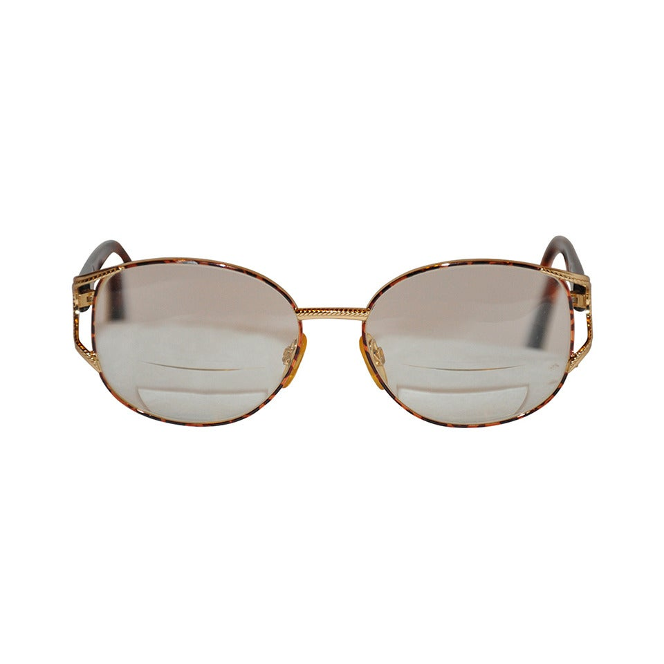 Yves Saint Laurent Gilded Gold Hardware with Tortoise Shell Eyeglasses