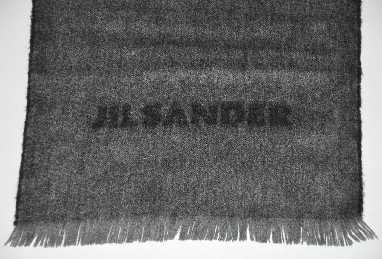 Jil Sander Charcoal Gray & Black with Fringe Cashmere Blend Scarf 4