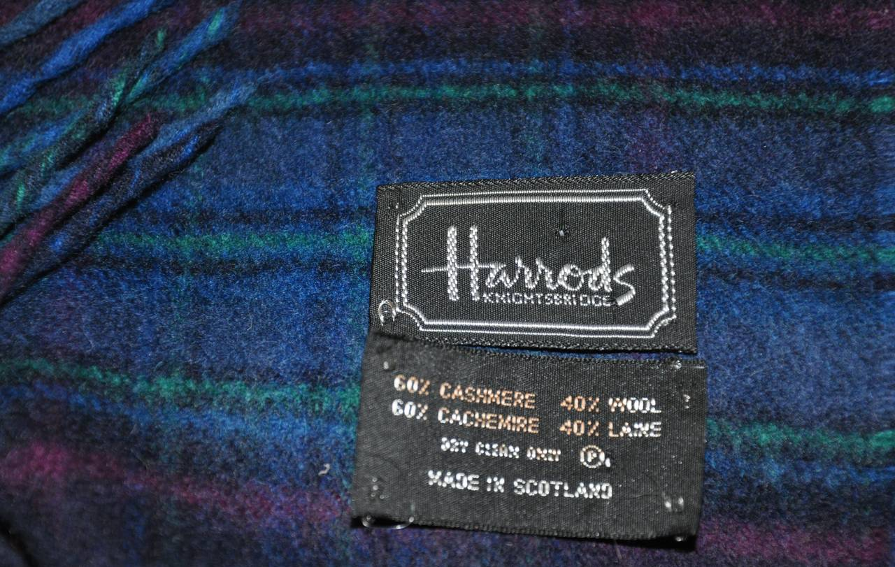 Black Harrods Multi-Color Plaid Cashmere and Wool with Fringe Scarf For Sale