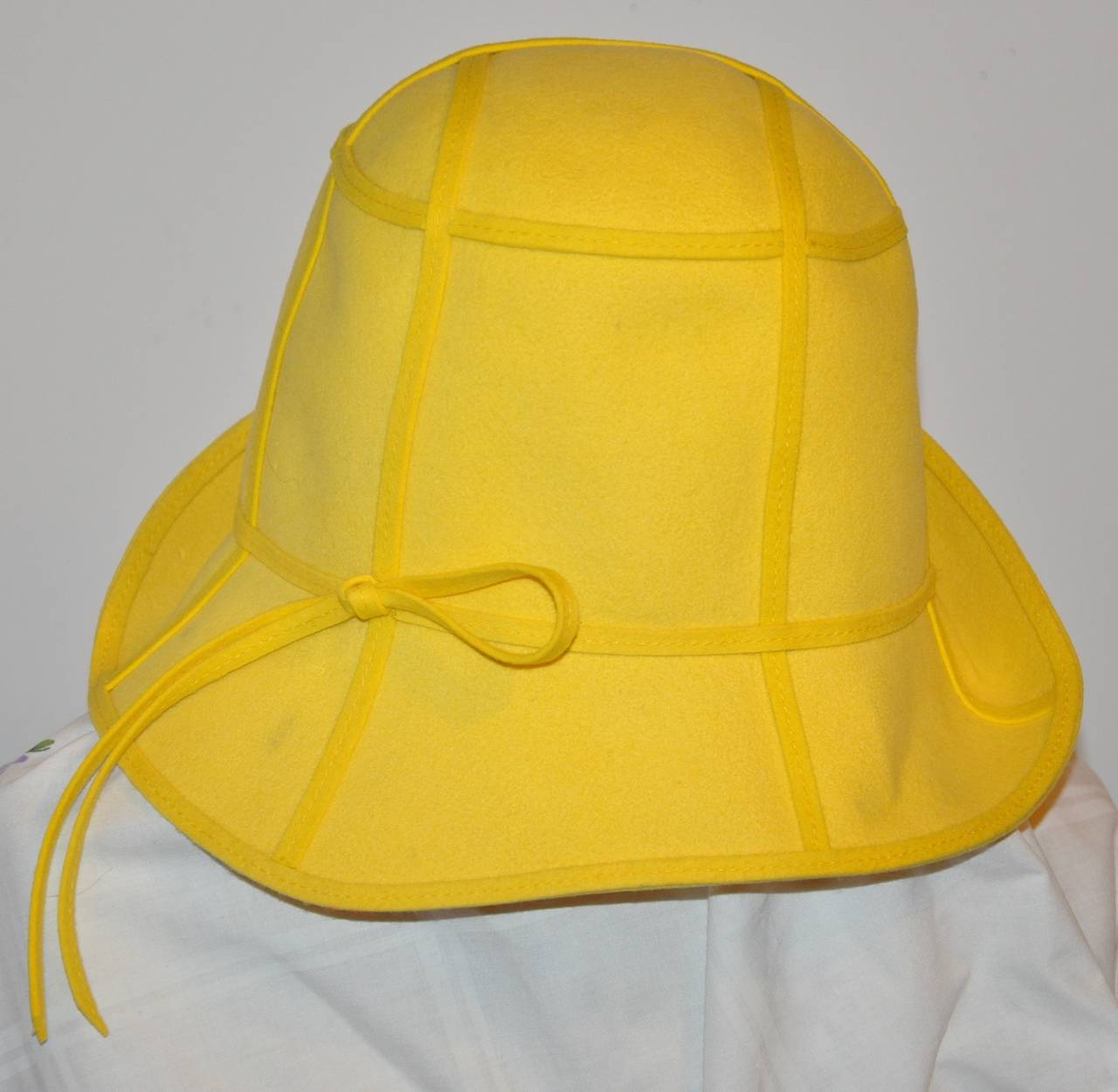 Mr. John Classic Bold Yellow with Detailed Top-Stitching Wool Felt Hat 2