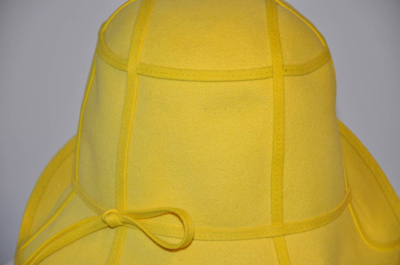 Mr. John Classic Bold Yellow with Detailed Top-Stitching Wool Felt Hat 3