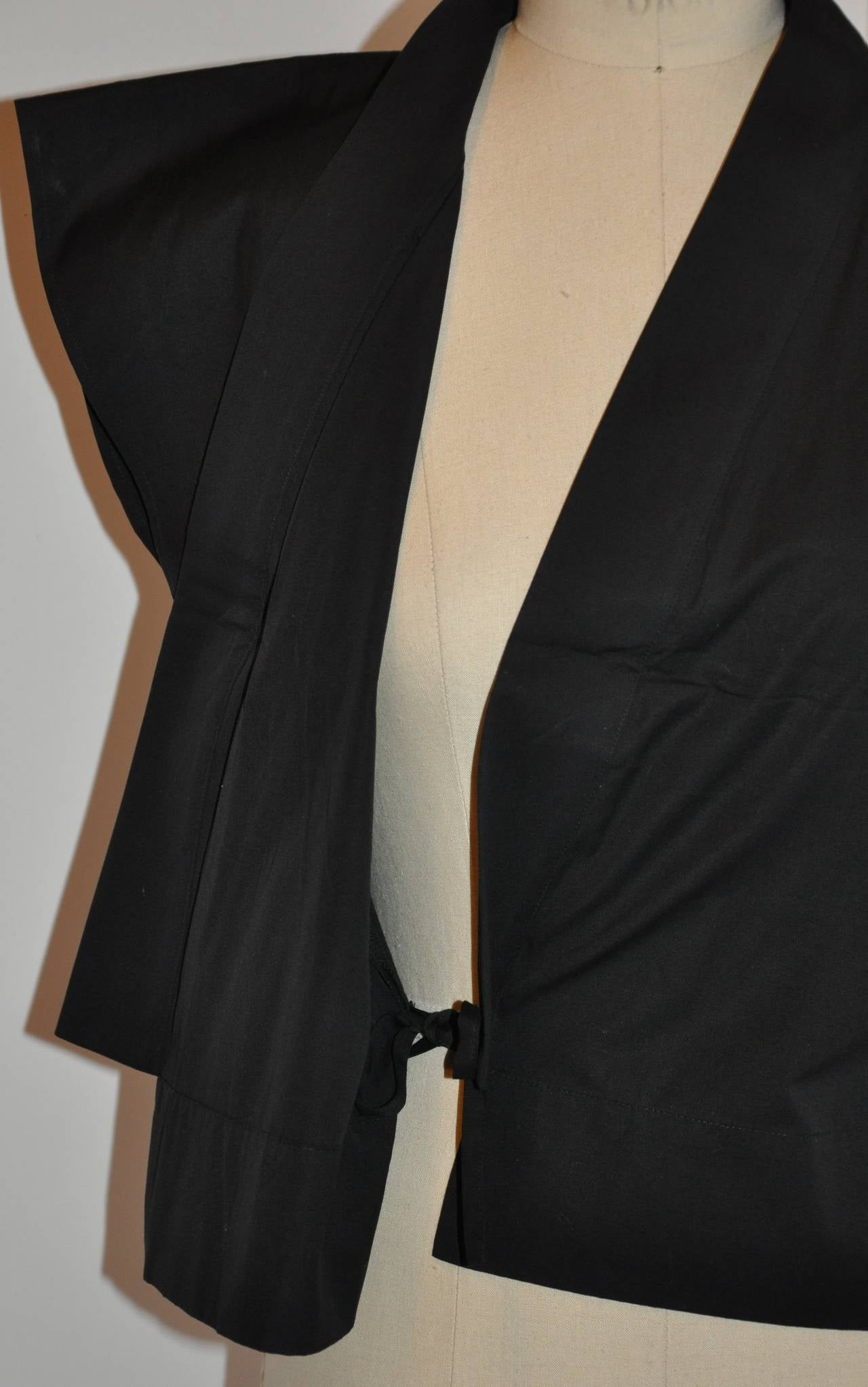 Agnes B' Black Kimono-Style Wrap Top In Excellent Condition For Sale In New York, NY