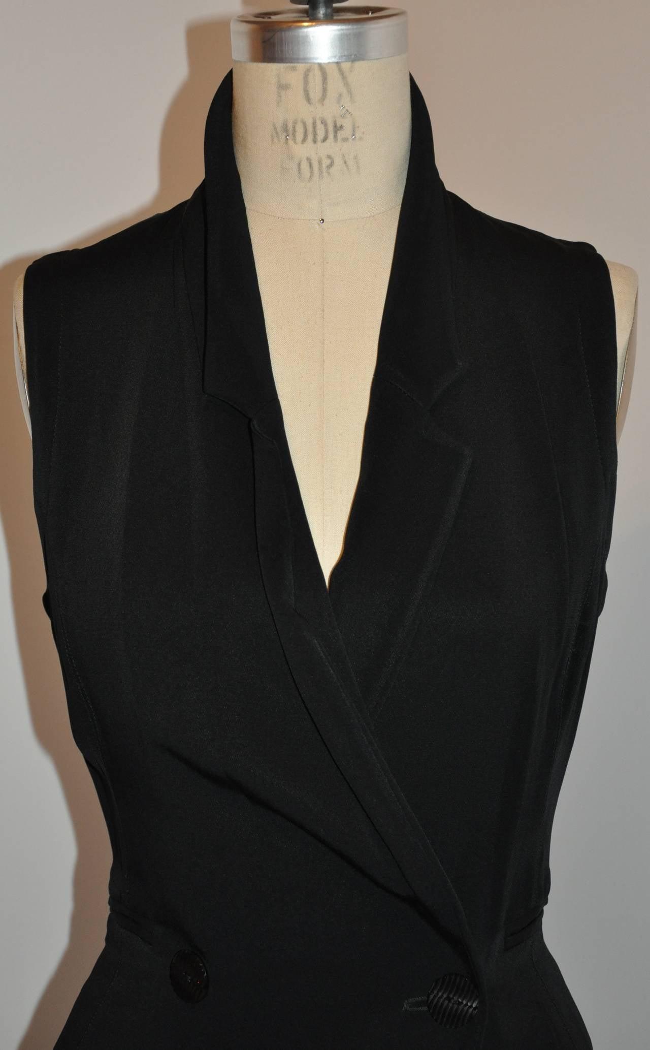 Ozbek Black Asymmetrical Double Breasted Sleeveless Dress 5