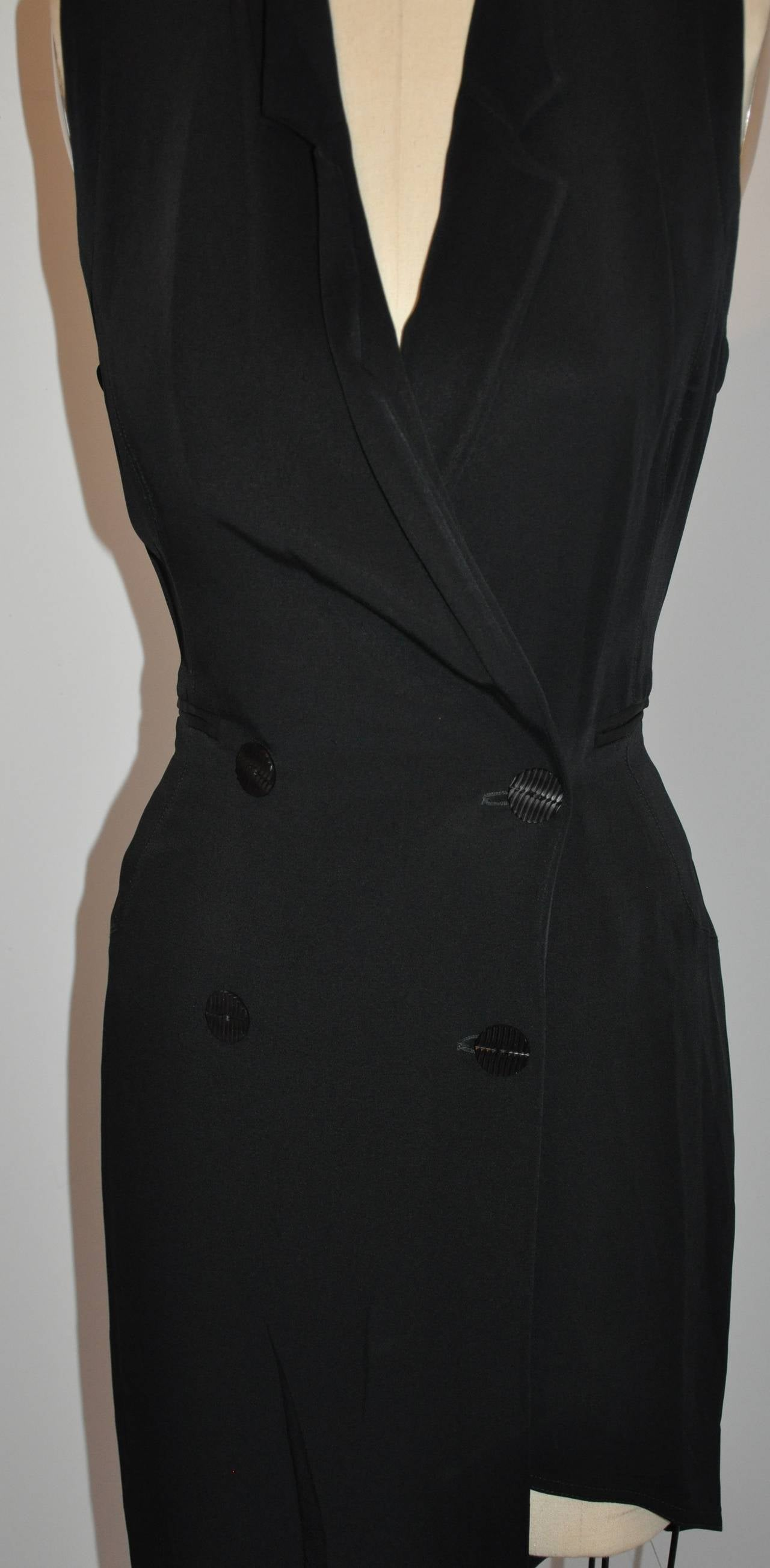 Ozbek Black Asymmetrical Double Breasted Sleeveless Dress 4