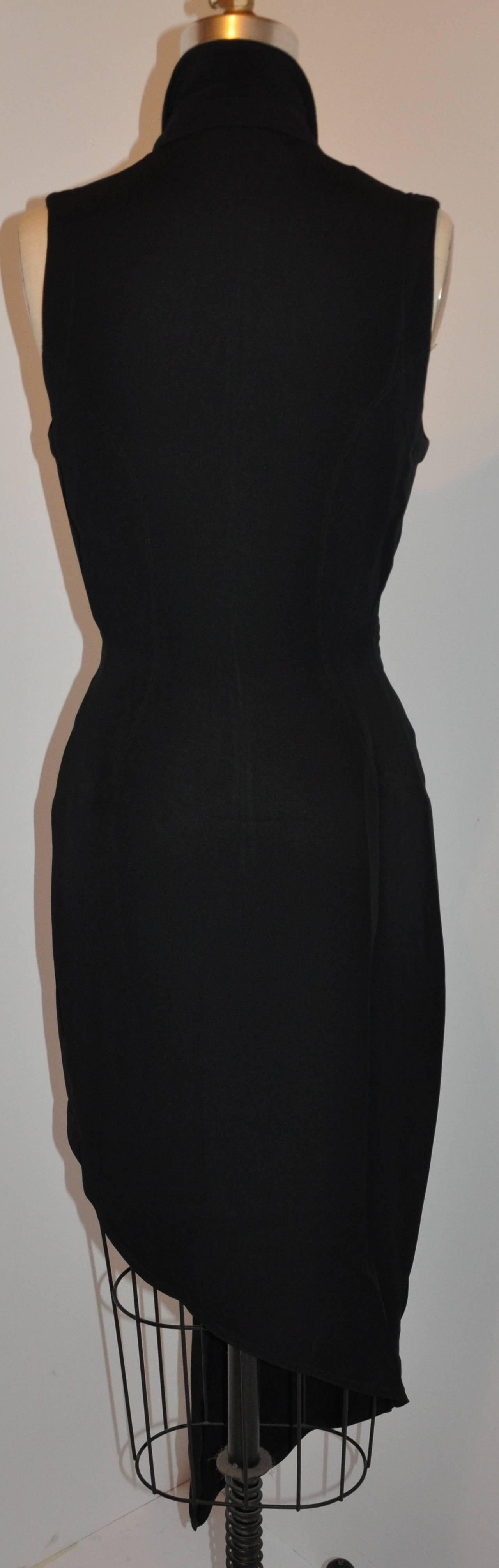 Ozbek Black Asymmetrical Double Breasted Sleeveless Dress 2