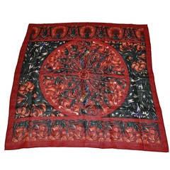 Perry Ellis Multi-Color Floral Burgundy Wool Challis Scarf
